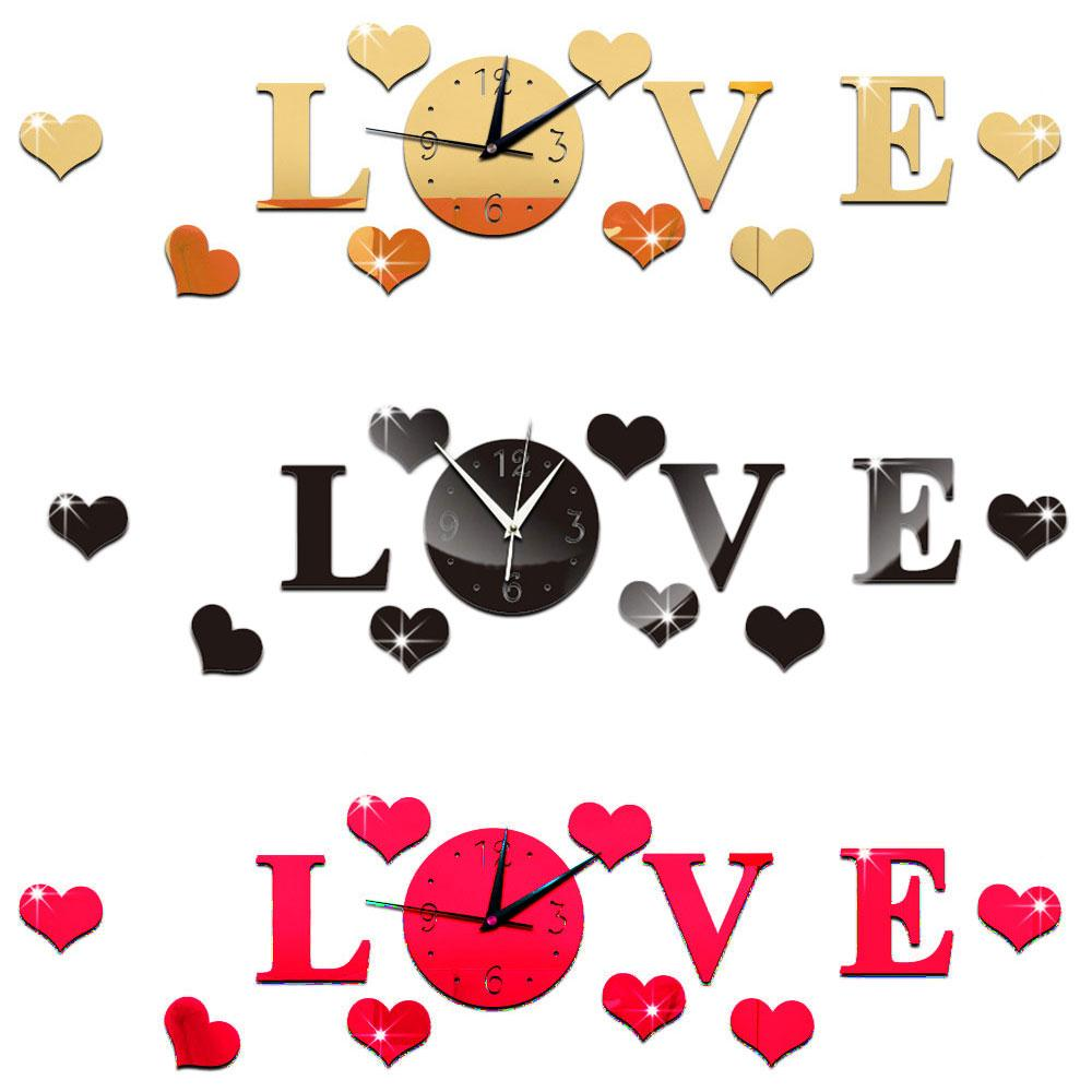 Creative 3D Mirror Stickers Wall Clock LOVE Decals Removable Home Decoration