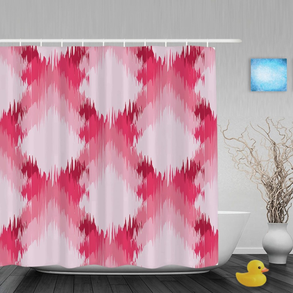 Abstract Seamless Pattern Bathroom Curtains Pink Ikat Ogee Decor Shower Curtains Waterproof Polyester Fabric With Hooks