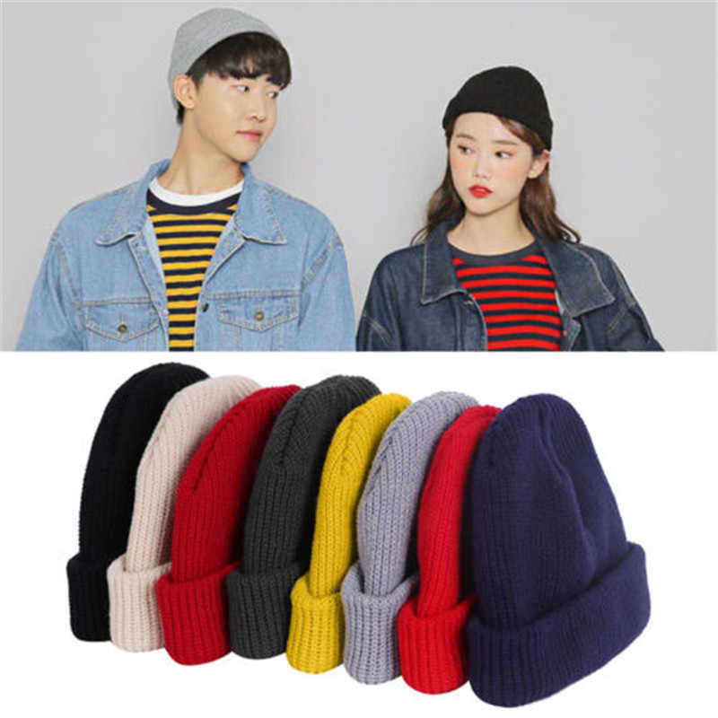 1pc Unisex Men Women Beanie Hat Warm Ribbed Winter Turn Ski Solid Fisherman Docker Cap Fashion Skullies Hat