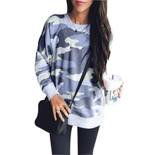 Autumn Winter 2018 Print Sweatshirt Women Fashion Camouflaged Pullover O Neck Cotton Hoodies Sweatshirts Womens Pink Casual Tops цена и фото