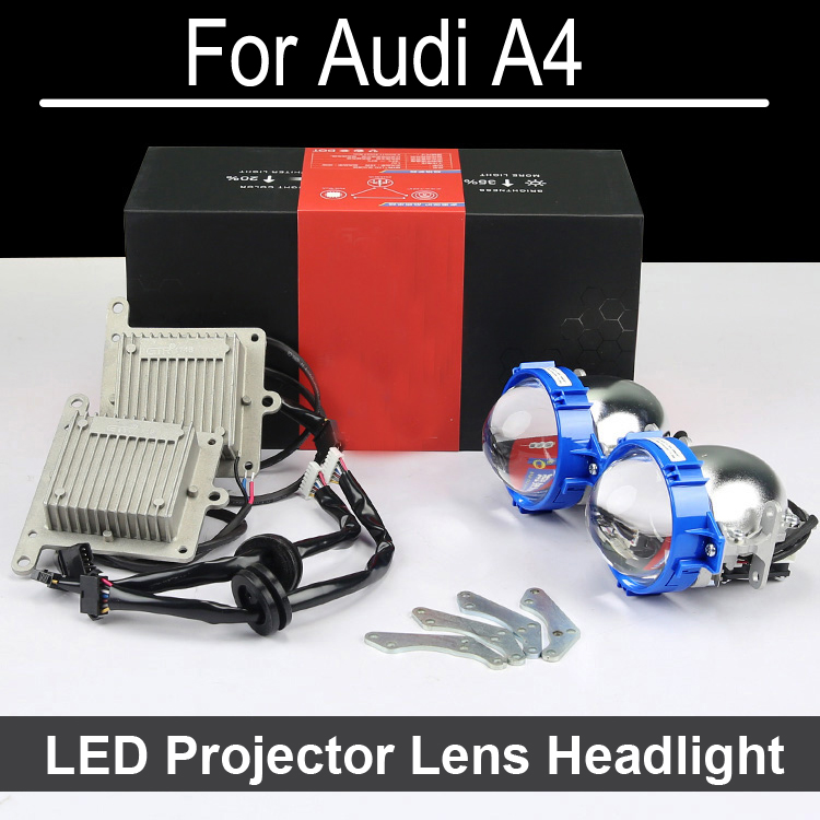 Perfect  Bi-xenon car LED Projector lens headlight Assembly For Audi A4 with halogen headlamp ONLY Retrofit Upgrade (2000-2015) only a promise