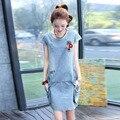Новая мода 2016 Летом деним женские платья Корейский свободные тонкие с короткими рукавами хлопок сплошной цвет тонкий вскользь платья женщин 178 Г 45