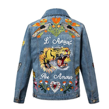 2016 Women Autumn Slim Vintage Tiger Embroidery Denim Jacket Lapel Long Sleeve Single-breasted Fashion Basic Coat veste en jean