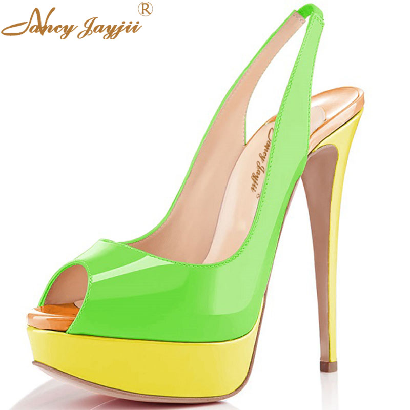 c4d33d68d7f6 Summer Green Women Patch Platform Point Toe High Heels Shoes Woman  Wedding Party Evening 14CM Sandals Nancyjayjii Size 4 16-in Women s Pumps  from Shoes on ...