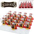 21 unids/lote hero de roma comandante con placa base gladiatus caballeros medievales mini muñeca de bloques de construcción ladrillos niños diy juguetes
