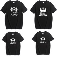 cotton tshirt family matching outfits clothes look father mother daughter son crown tshirt clothing mommy and me dresses clothes(China)