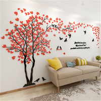 New Arrival Crystal Acrylic DIY 3D Wall Stickers Red Tree Modern Living Room TV Sofa Decorative