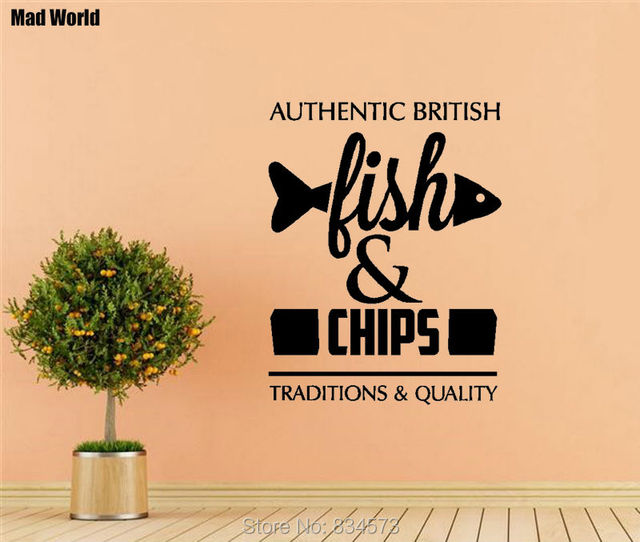 Mad World FISH AND CHIPS Quote Wall Art Stickers Wall Decal Home DIY ...