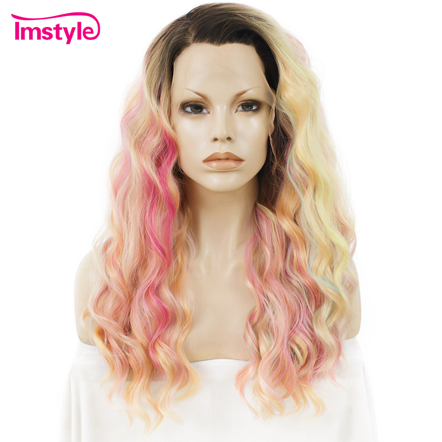 Imstyle Lace Front Wig Long Curly Multicolor Ombre Rainbow Wigs For Women Synthetic Wigs Heat Resistant Fiber Cosplay 24 inches
