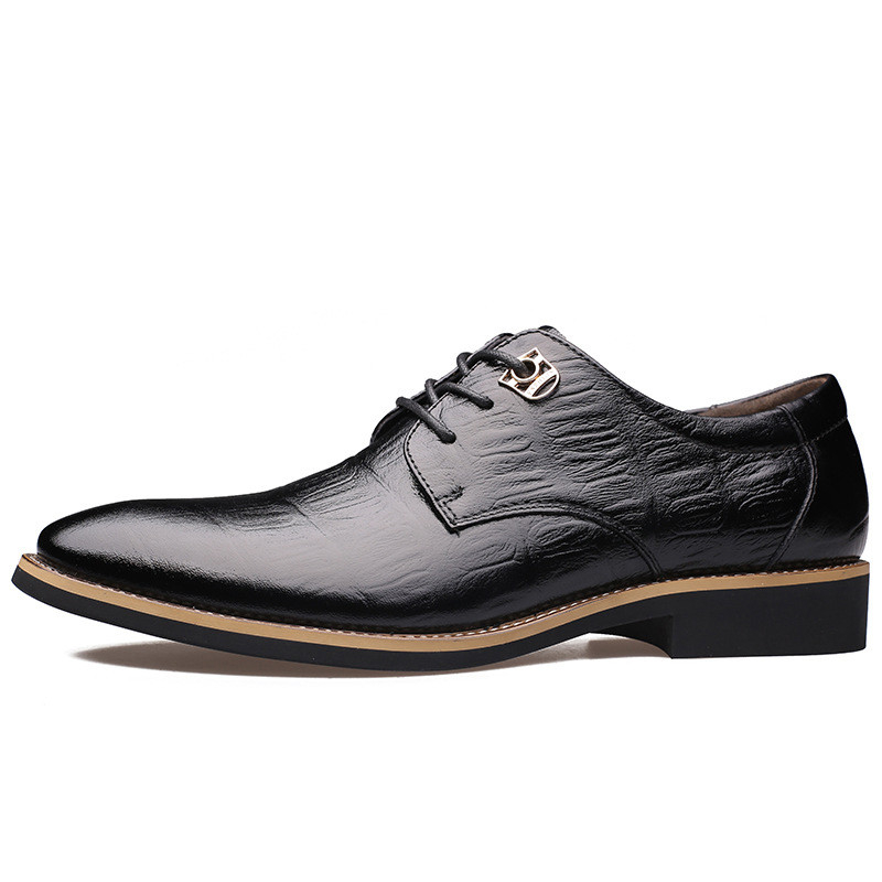 MIUBU 2019 Luxury Brand Men Flats Fashion High Quality Genuine Leather Shoes Mens Lace Up Business Dress Shoes Oxfords For Men in Formal Shoes from Shoes