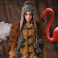 Шапочка и Перчатки Девушки Женщин Зима Теплая Вязать Ручной Hat Earmuff Шапки