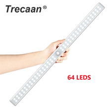 20/36/64LEDs USB Rechargeable LED Under Cabinet Light PIR Motion Sensor Closet Night for Wardrobe Cupboard Kitchen