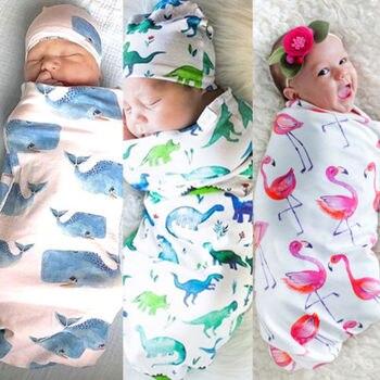 2018 słodkie Newborn Baby dziewczyny chłopcy bawełna Flamingo dinozaur Shark kwiatowy wieloryb przewijać koc śpiwór kapelusz muślinowy kocyk