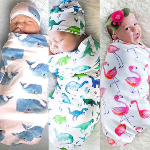 2018 Симпатичные для новорожденных мальчиков и девочек хлопок Фламинго динозавров Акула цветочный КИТ пеленать Одеяло спальный мешок Hat муслин wrap