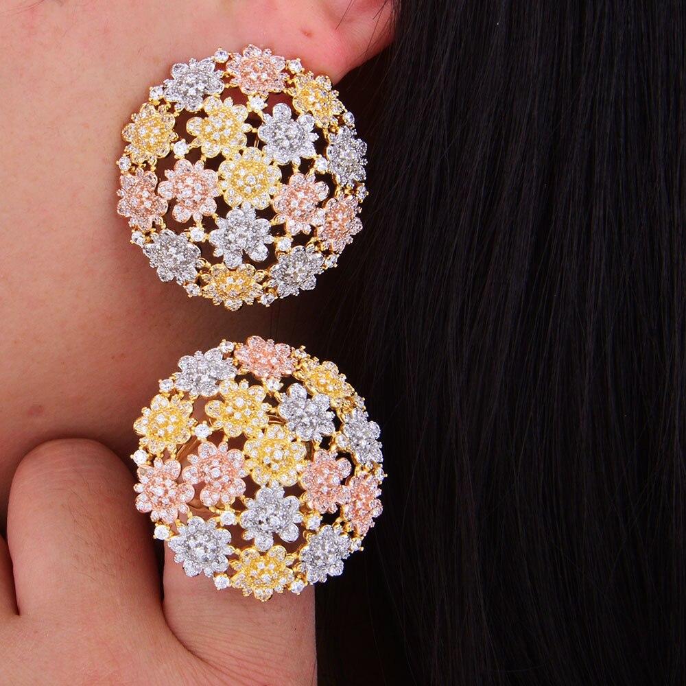GODKI nouveau luxe Boom fleur Cluster cubique zircone marque nouvelle bague de fiançailles redimensionnable pour les femmes paillettes élégant fait à la main anneau - 3