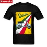 2017 Italia motocicleta Camisetas Tees Vespa vintage Camiseta de algodón de manga corta hombres último diseño T Camisas XXXL verano camisas