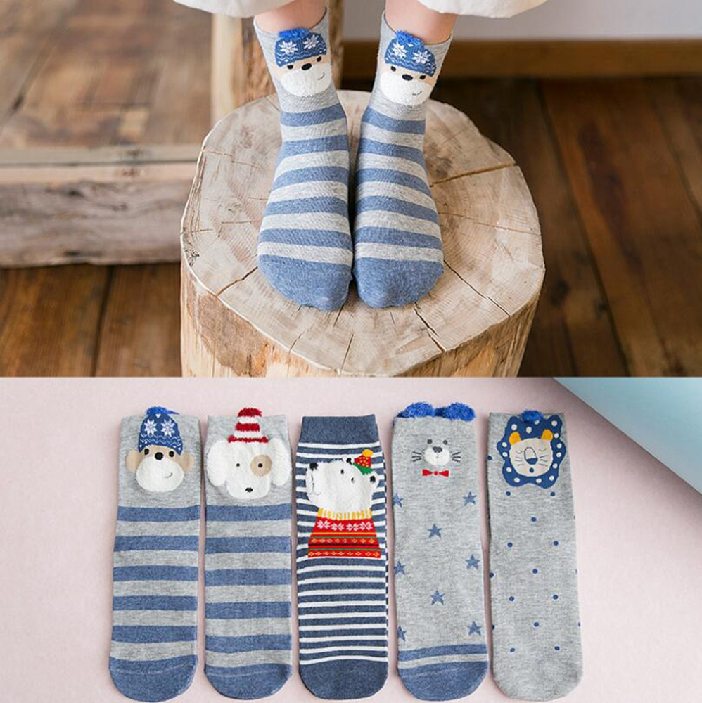 5Pairs Spring New Arrivl Women Socks Cotton Cute Animal Long Socks Personality Casual Ear Gril Socks 35-40 Summer Socks