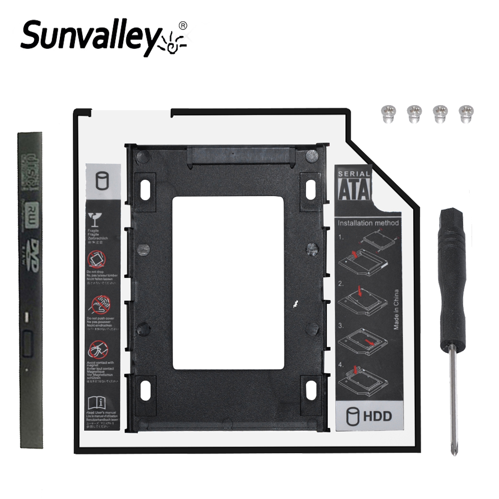 Sunvalley 2nd 2.5 12.7mm SATA 3.0 Caddy HDD SSD Enclosure/Adapter For External Hard Drive Disk 2TB Box CD DVD ROM Optibay Case image