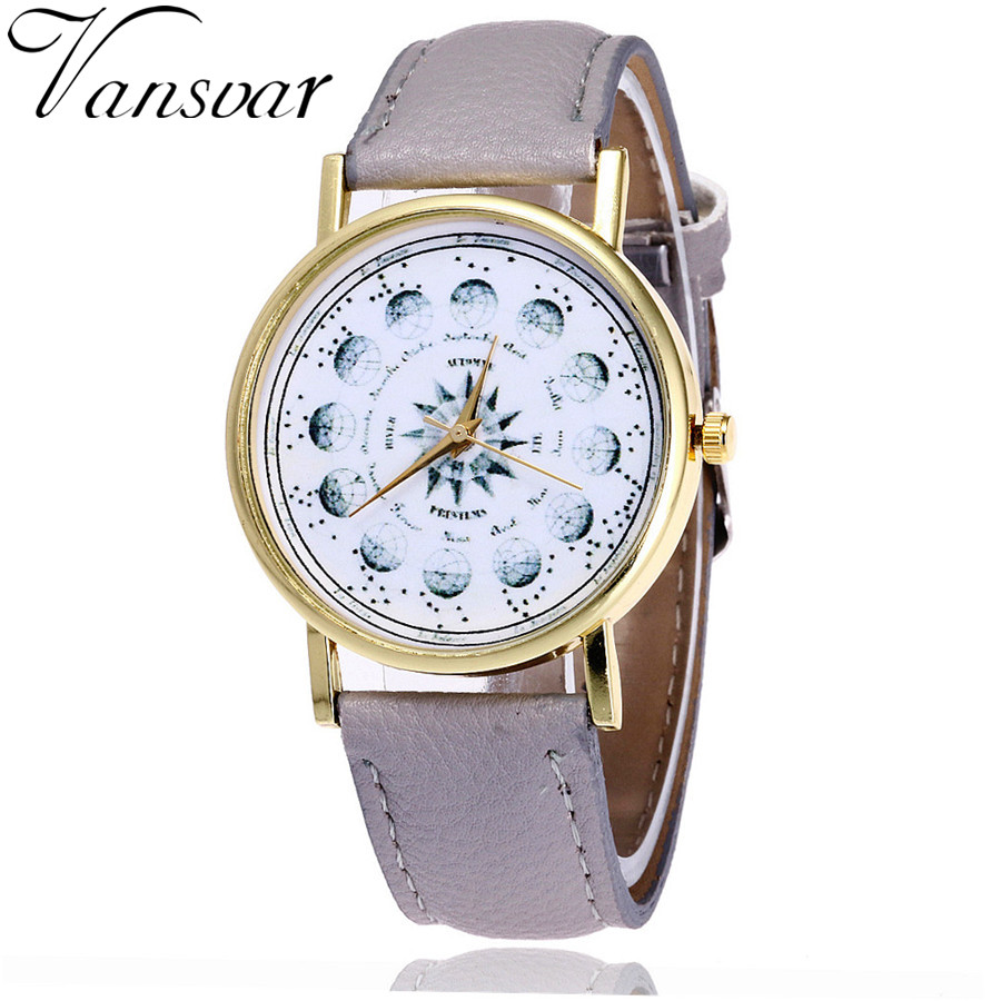 Vansvar Brand Fashion Vintage Astronomy Watch Casual Women Astrology Wrist Watches Unisex Leather Quarzt Watch Drop Shipping V27 vansvar brand fashion casual relogio feminino vintage leather women quartz wrist watch gift clock drop shipping 1903