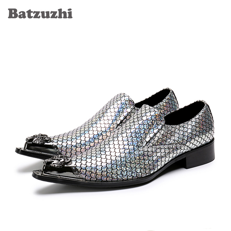 Batzuzhi Italy Style Men Shoes Party Shinny Glitter Wedding Shoes Men Leather Men Dress Shoes Pointed Metal Toe Zapatos Hombre new hot sale 2016 korean style boy autumn and spring baby boy short sleeve t shirt children fashion tees t shirt ages
