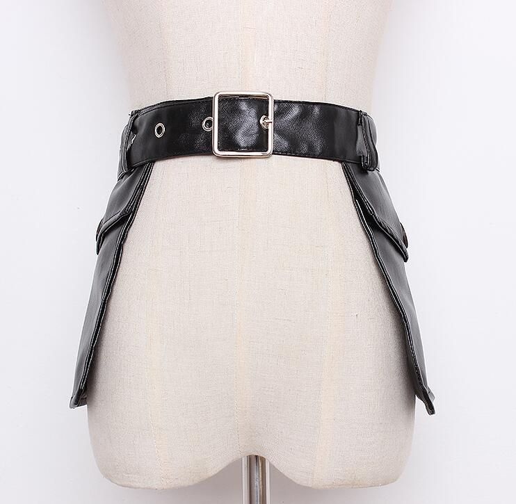 Women's Runway Fashion Pu Leather Cummerbunds Female Dress Corsets Waistband Belts Decoration Wide Belt R1651