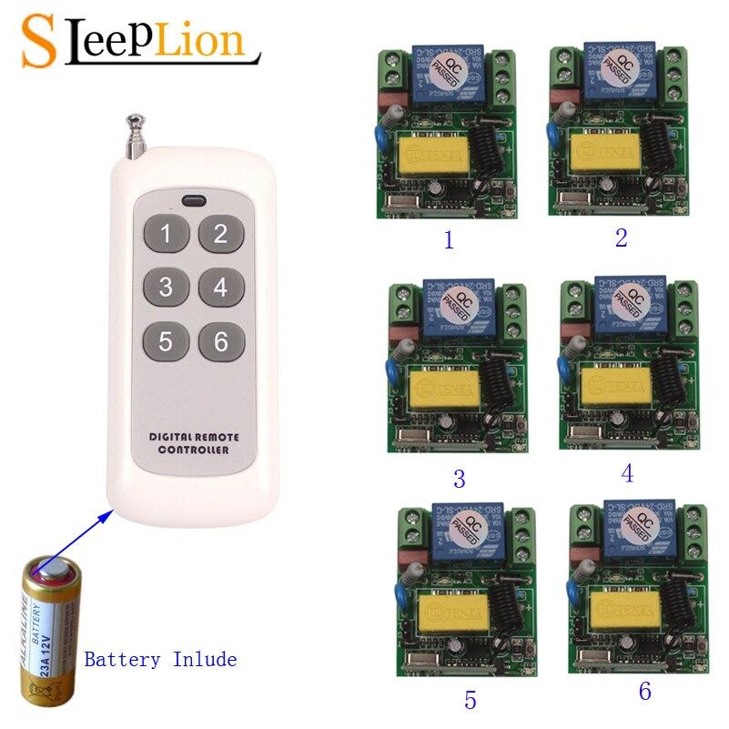 Dormeur 433 Mhz universel sans fil télécommande commutateur AC 220 v 110 V 120 V v relais 6 récepteur commutateur Module lumière LED contrôleur