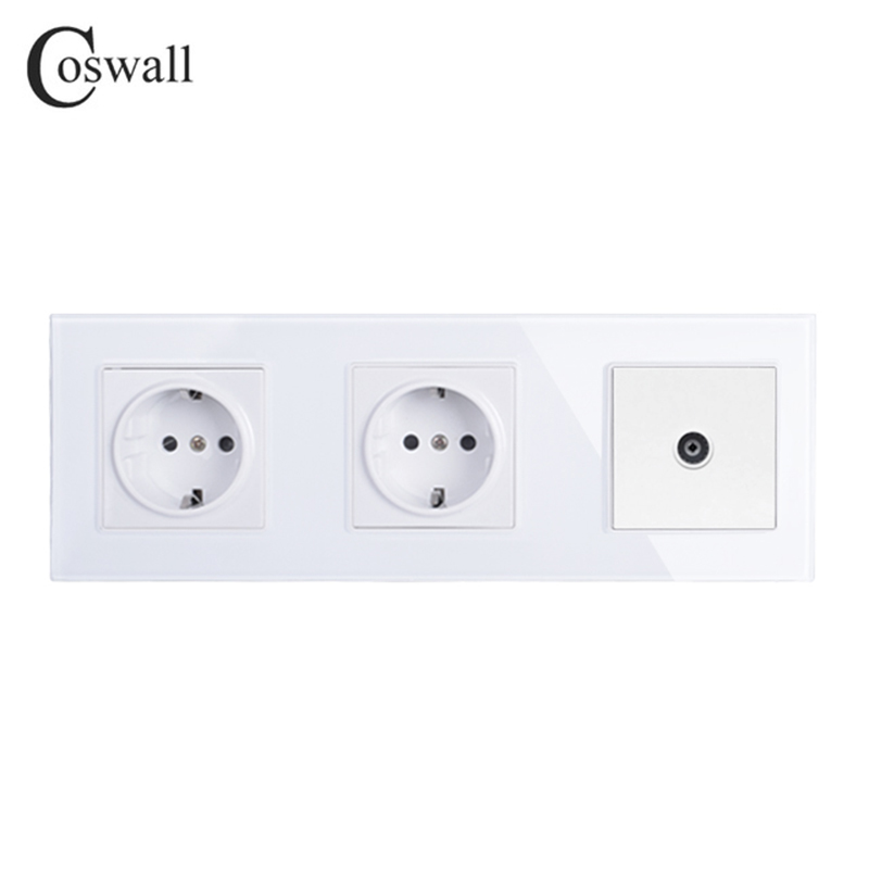 COSWALL Wall Crystal Glass Panel Double Power Socket Grounded 16A EU Electrical Outlet With TV Jack atlantic switch tempered glass phone tv socket model luxury crystal glass panel weak current socket telephone television outlet