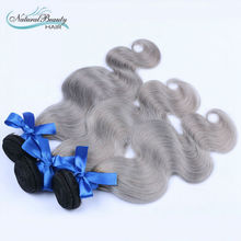 New Arrival brazilian body wave 3pcs/lot ombre silver grey hair weaving 1b/gray two tone Brazilian Virgin human hair extensions