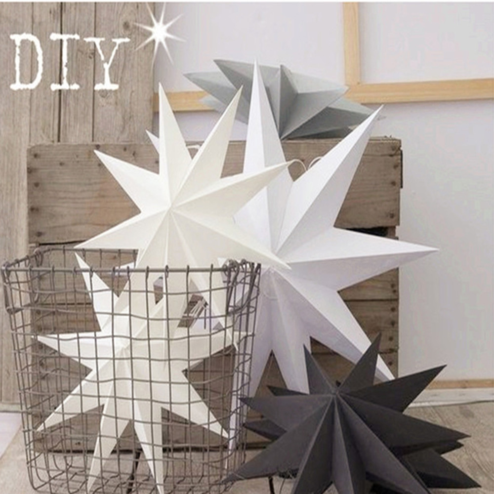1pc 30cm Vintage 9 Angles Paper Star 3D Hanging Paper Star Lanterns for Christmas Wedding Shower Home Decorations Crafts in Party DIY Decorations from Home Garden