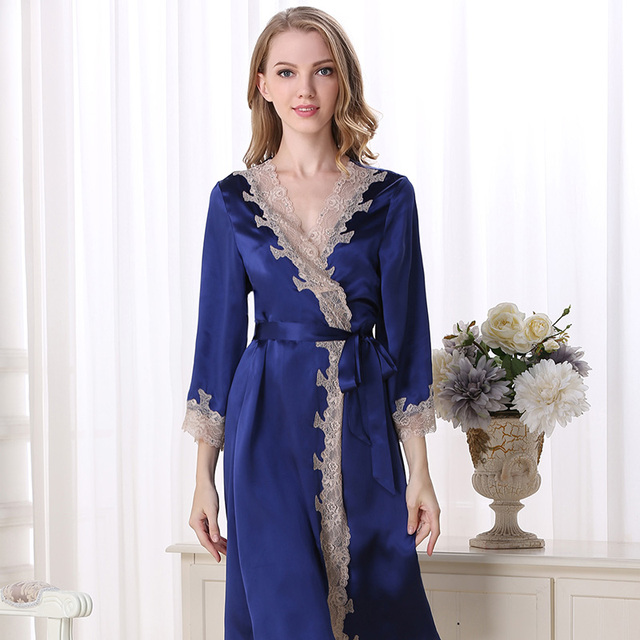 Genuine Silk Sleeping Robes Female Sexy 100% Silkworm Silk Sleepwear Women Sweet Lace Bathrobe Kimono S5503-2