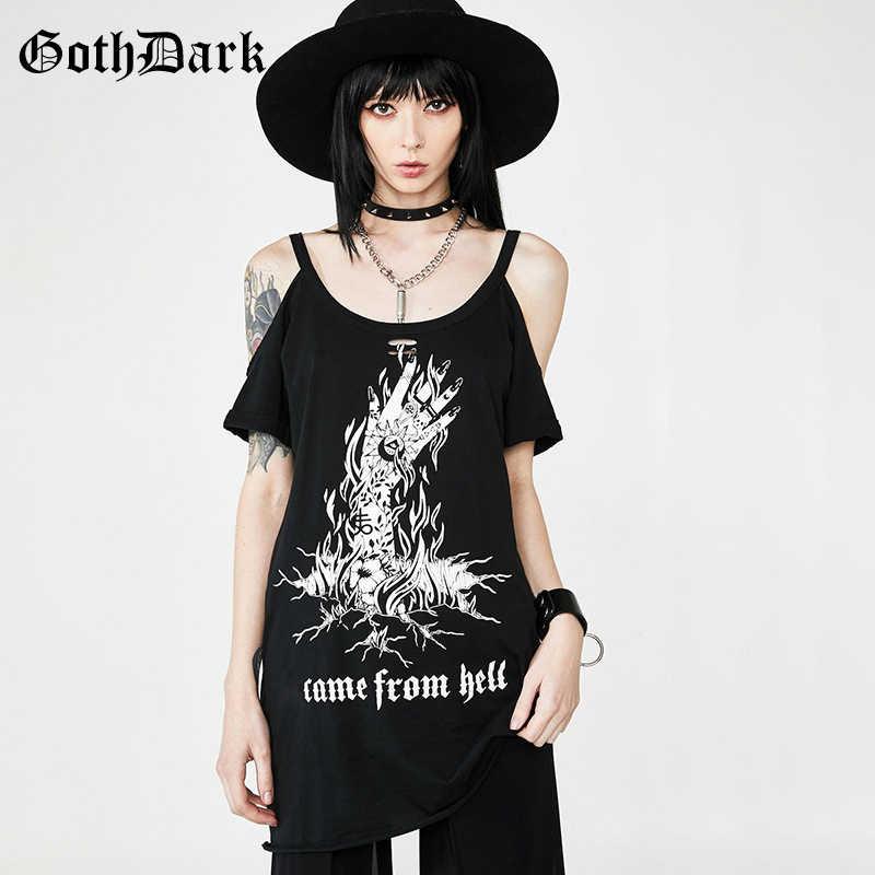 Женская длинная майка Goth Dark, летняя готическая футболка на бретелях с открытой спиной, черная винтажная футболка с принтом в стиле Харадзюку, 2019