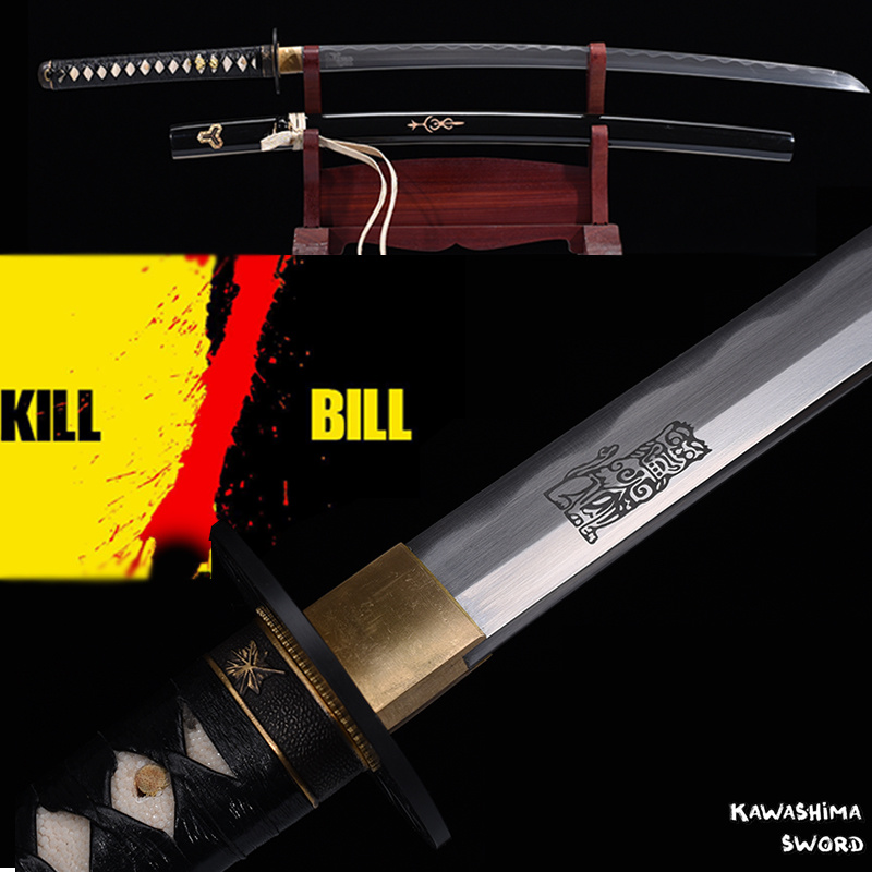 Hot Sale For Movie Kill Bill Bride's Sword  Katana Handmade Full Tang 1045 High Carbon Steel With Engraved Pattern-41 Inch