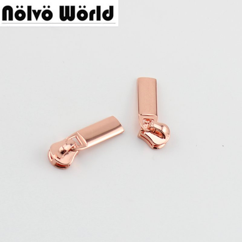 10pcs 5# Metel Teeth ,nylon Teeth Zip Slider Rose Gold Plating Accessory Metal Zipper Puller For Bags Garments Fabric Accessory