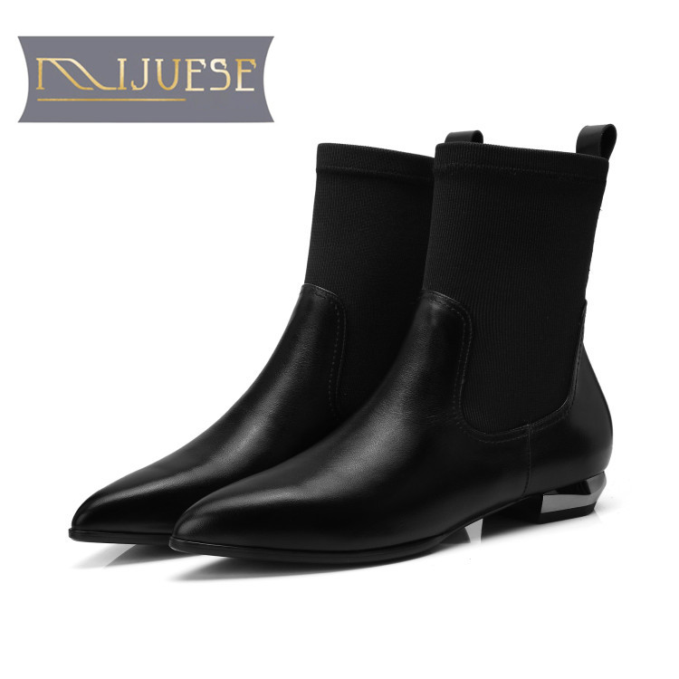 MLJUESE 2019 women Mid calf boots cow leather stretch fabric black color pointed toe women martin boots casual boots 34-42 santos laguna lobos buap