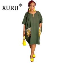 XURU Summer New Sexy Womens Large Size Dress Fashion Casual Pocket Army Green
