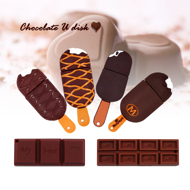 Chocolate DISK Pen Drive 16gb Usb 2.0 Ice Cream CARTOON Sb Flash Drive 128 Gb Flash Memoria 32 GB Pendrive 64GB Flash Memory