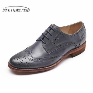 Image 4 - Echte schapenvacht lederen brogue schoenen yinzo lady flats schoenen vintage handgemaakte winter oxford schoenen voor vrouwen zwart grijs bruin