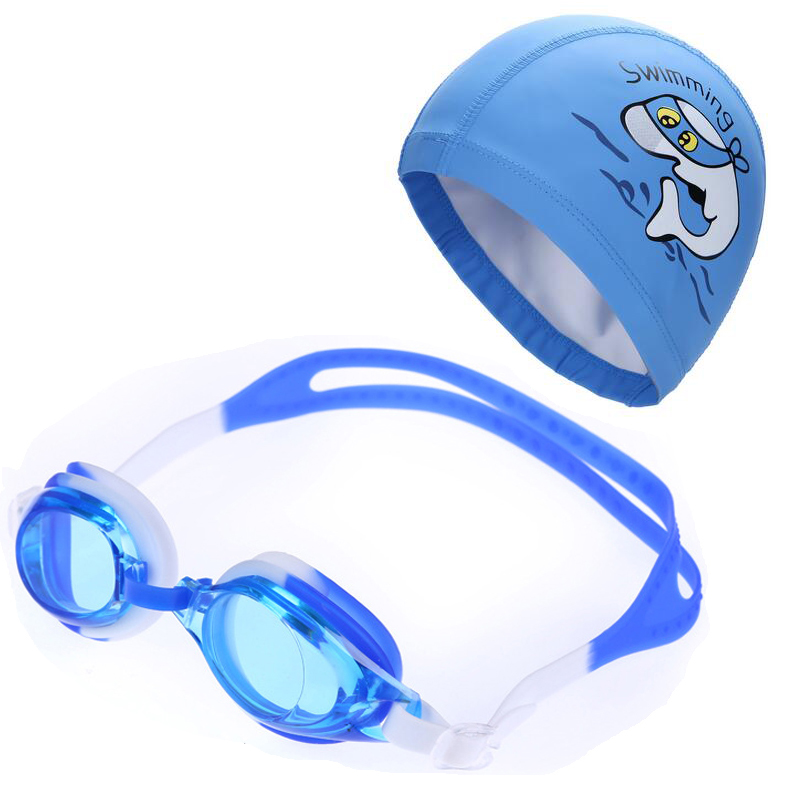 Kids Children Anti Fog UV Protection Waterproof Silicone Swimming Goggles Glasses Eyewear & PU Fabric Dolphin Swim Cap Hat Set