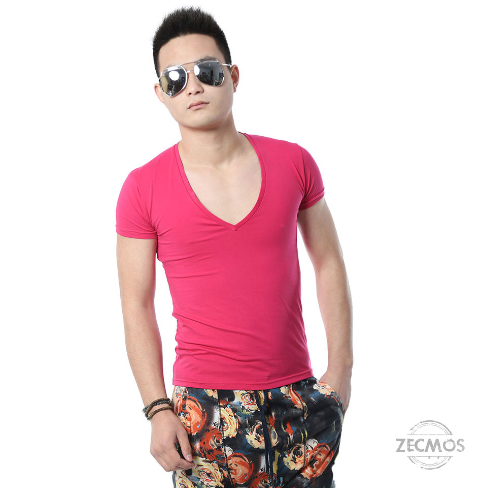 Zecmos Deep V Neck Sexy Men T-Shirt Vintage Short Sleeve Solid Color Muscle Fit T Shirt Men Top Tees Fashion 42