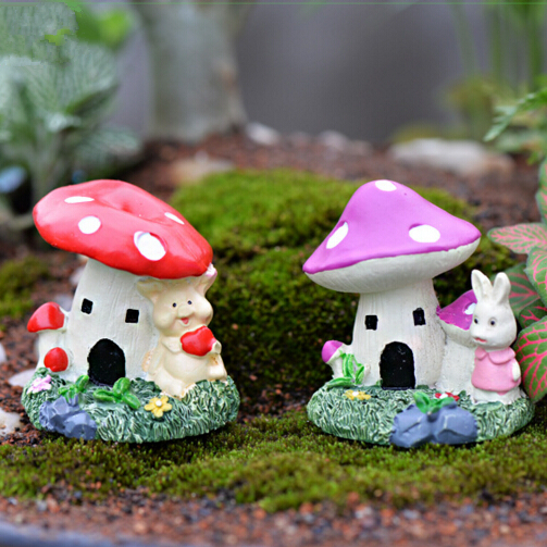Mushroom House With Bear Rabbit Fairy Garden Miniatures Gnomes Moss  Terrariums Resin Craft For Diy Home Decorations Accessories In Figurines U0026  Miniatures ...