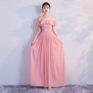 Image 4 - Korean Style Women Summer Party Sexy Wedding Guest Pearl Chiffon Long Blue Pink Bridesmaid Dresses Vestido Madrinha