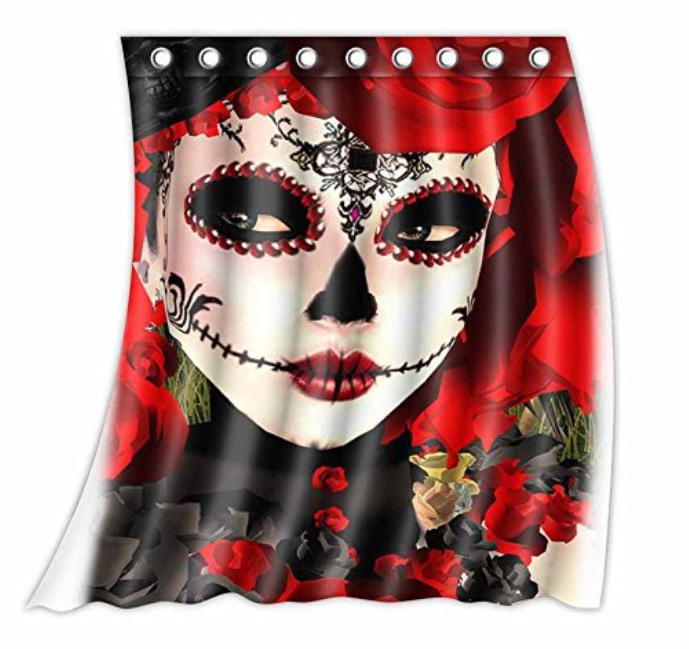 Personnalisé Dia De Los Muertos Suger Crâne Motif Rideau Polyester Tissu Fenêtre Rideau Taille 52 w x 63 h (D'une seule Pièce)