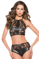 New Sexi Woman Lingerie Black Leather Lace Patchwork Crop Top And Underwear Set Ropa Erotica Para