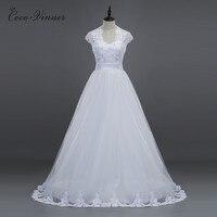 C V Fashion New Style Short Sleeves V Neck A Line Tulle Lace Wedding Dress White