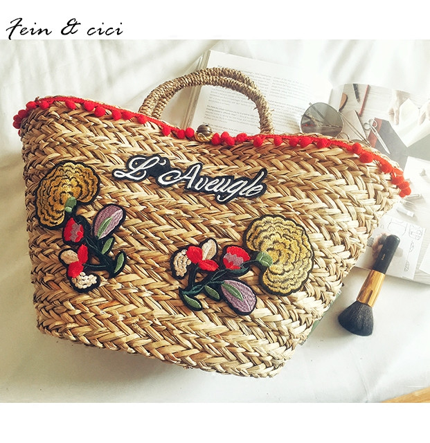beach bag straw totes bag large Jumbo summer bags embroidery flower women letter Flora handbag 2017 new arrivals high quality hand straw tote handbag summer sunflower woven beach bag fashion large capacity women shopping bag patchwork flower straw bags