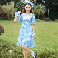 2018 Spring Soft Sister Lace Patchwork Plaid Dress For Girls Sweet Short Sleeve Lolita Dress Adorable