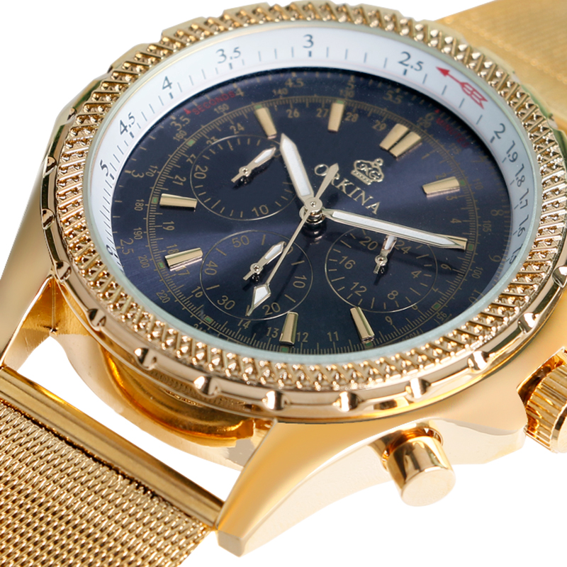 Relogio Masculino Fashion Gold Analog Quartz-Watch Orkina Male Watch Mesh Stainless Steel Iron Wristwatches Men Watches W1938