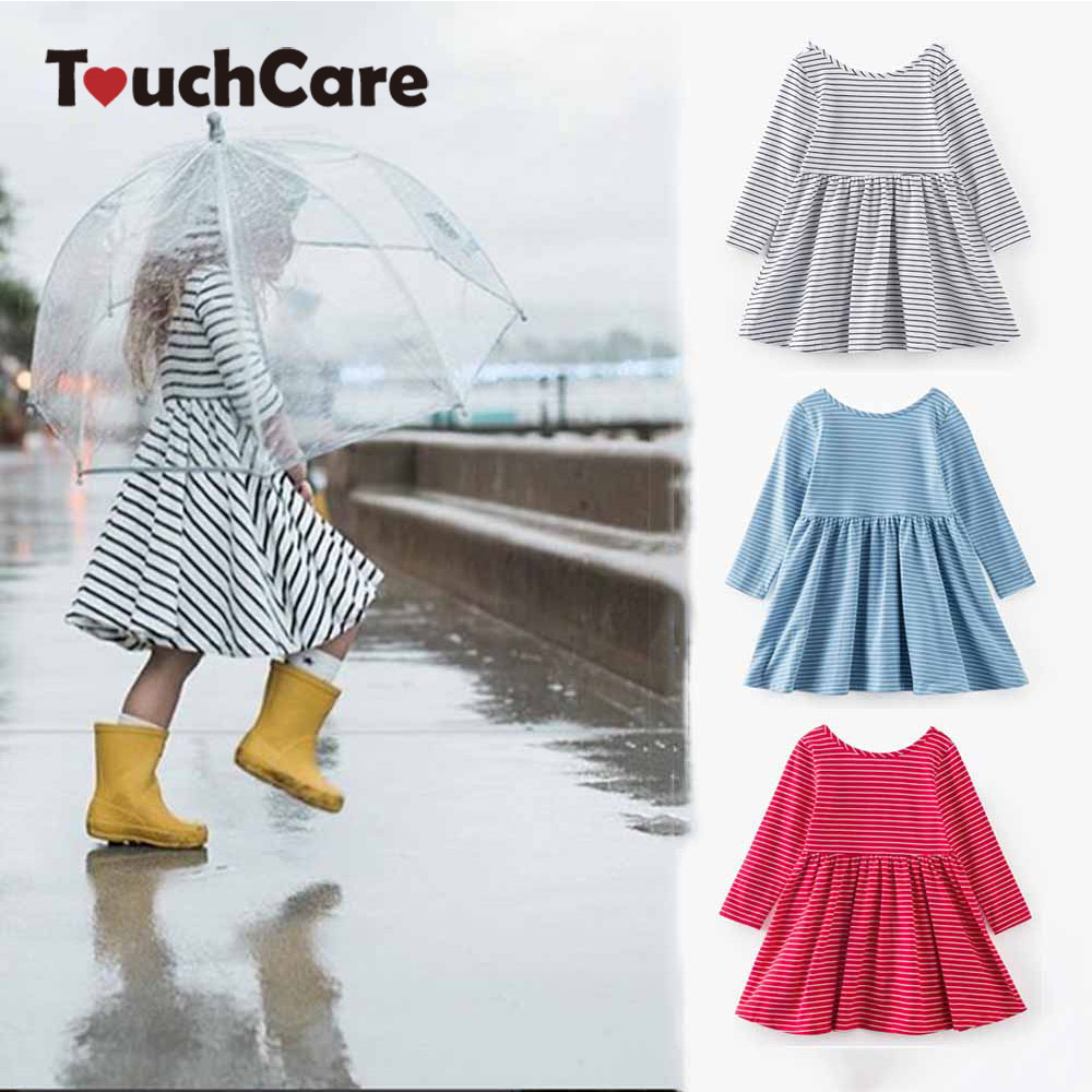 Fashion Stripes Backless Baby Girls Dress 0-8 Years Cotton Pleated Children Dress Princess Dress Vestidos Infantil pleated halter hollow out backless maxi dress