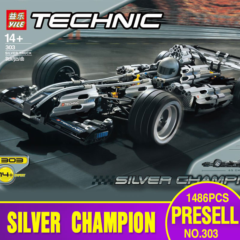 NEW Yile Technic Series 1486Pcs  The Ultimate Sliver Champion F1 Racing Car Set Educational Building Blocks Bricks Boy Toys 8458