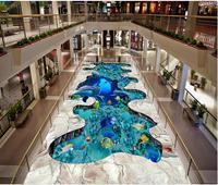 Modern Sticker 3D Floor Underwater world tropical fish school 3D floor tile painting PVC Wall Paper Self adhesive Floor Mural